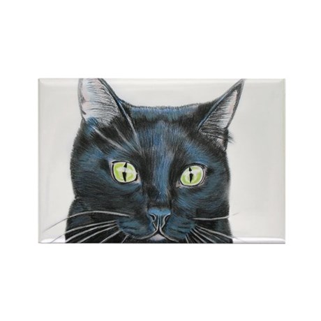 black cat Rectangle Magnet (10 pack)