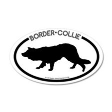"""Border Collie"" White 35x21 Oval Wall Peel"