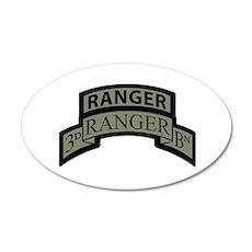 3rd Ranger Bn Scroll/Tab ACU 20x12 Oval Wall Peel