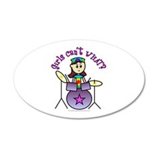 Light Girl Drummer 20x12 Oval Wall Peel