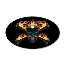 Flaming 8 Skull 20x12 Oval Wall Peel