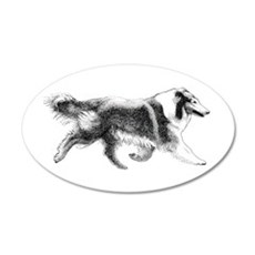 Running Collie 35x21 Oval Wall Peel