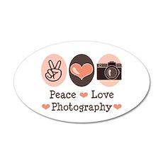 Peace Love Photography Camera 20x12 Oval Wall Peel