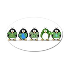 Eco-friendly Penguins 20x12 Oval Wall Peel