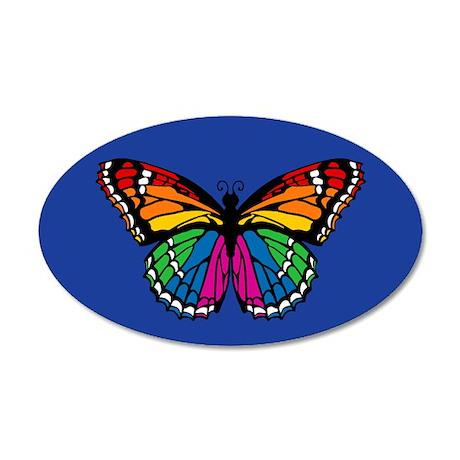 Rainbow Butterfly 35x21 Oval Wall Peel