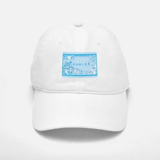 Sewist fabric font sewing border aqua blue white B