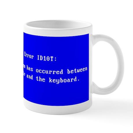 ID10T_blue Mugs