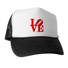 Love skate deck red Trucker Hat