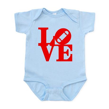 Love skate deck red Infant Bodysuit