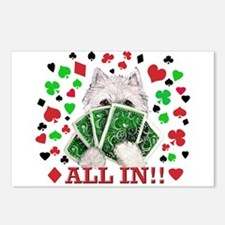 Westie Playing Poker Postcards (Package of 8)