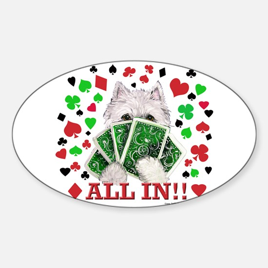 Westie Playing Poker Oval Decal