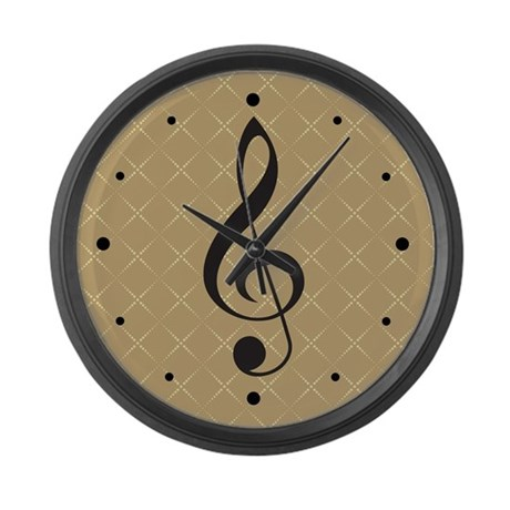 Music Wall Clock With Treble Clef On Tan