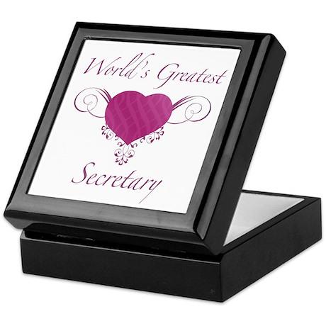 World's Greatest Secretary (Heart) Keepsake Box