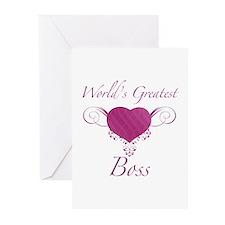 World's Greatest Boss (Heart) Greeting Cards (Pk o