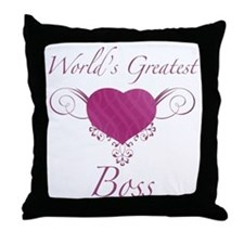World's Greatest Boss (Heart) Throw Pillow