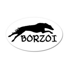 Running Borzoi w/Text 20x12 Oval Wall Peel