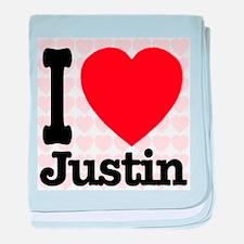 I Love Justin baby blanket