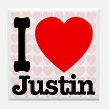 I Love Justin Tile Coaster