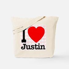 I Love Justin Tote Bag
