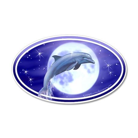 Dolphin Moon car bumper sticker decal (Oval)