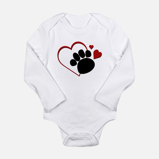 Dog Paw Print with Love Heart Body Suit