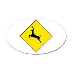 Deer Crossing Sign - 20x12 Oval Wall Peel