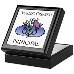 World's Greatest Principal (Flower) Keepsake Box