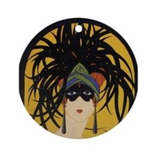 Unique Art deco ladies Ornament (Round)