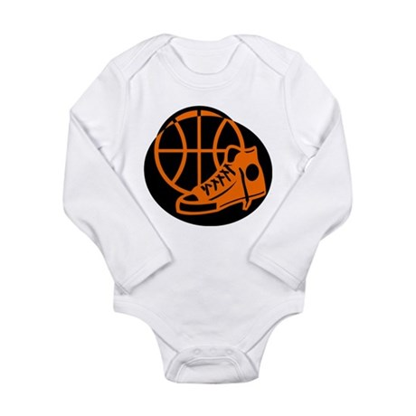 BASKETBALL *32* [orange} Long Sleeve Infant Bodysu