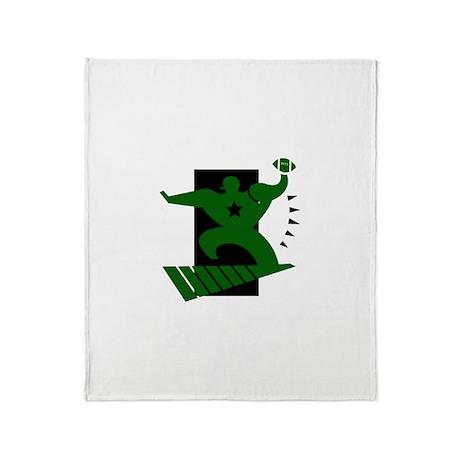 FOOTBALL *45* {green/black} Throw Blanket