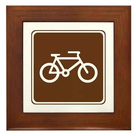Bicycle Trail Sign Framed Tile