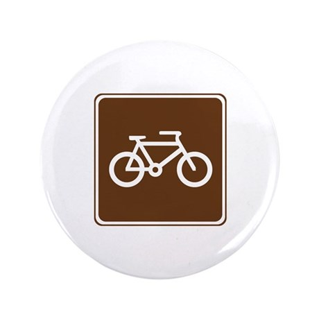 """Bicycle Trail Sign 3.5"""" Button"""