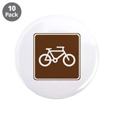 "Bicycle Trail Sign 3.5"" Button (10 pack)"