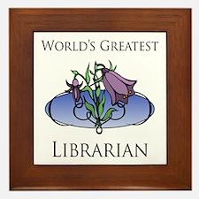 World's Greatest Librarian (Flower) Framed Tile