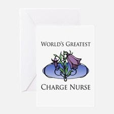 World's Greatest Charge Nurse (Flower) Greeting Ca
