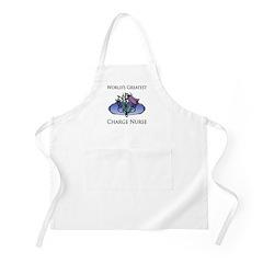 World's Greatest Charge Nurse (Flower) Apron