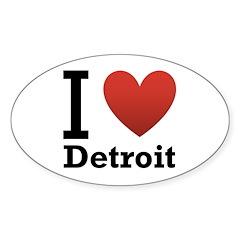 I Love Detroit Sticker (Oval)