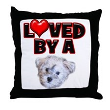 Loved by a Schnoodle Throw Pillow