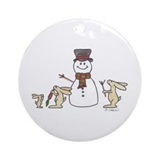 Cute Christmas rabbit Ornament (Round)