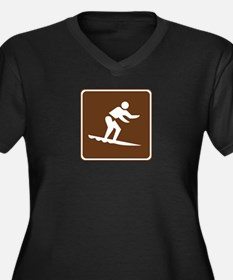 Surfing Sign Women's Plus Size V-Neck Dark T-Shirt