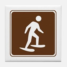 Snow Shoeing Sign Tile Coaster