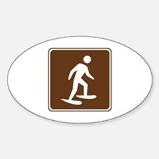 Snow Shoeing Sign Sticker (Oval)