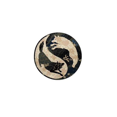 Origami Yin-Yang Wolves Mini Button