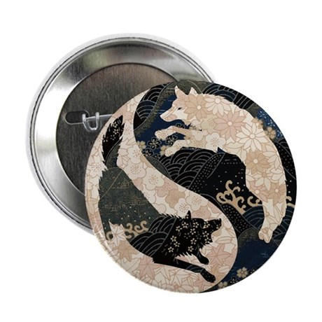 """Origami Yin-Yang Wolves 2.25"""" Button (10 pack"""