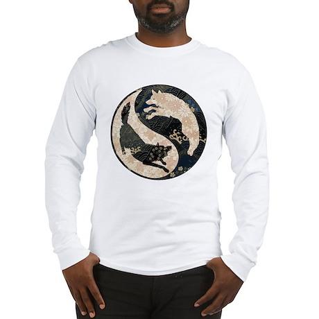 Origami Yin-Yang Wolves Long Sleeve T-Shirt