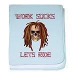 Work Sucks Let's Ride Skull baby blanket