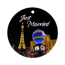 Just Married Las Vegas Ornament (Round)
