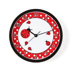 Ladybugs Wall Clock - Red / White Dot
