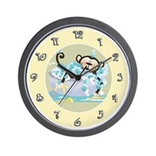 Brown Monkey in Tub Kids Bathroom Wall Clock