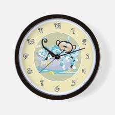 Brown Monkey in Tub Kids Bathroom Wall Clock